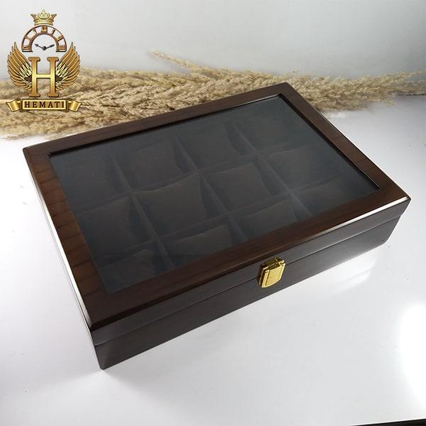 خرید آنلاین جعبه ساعت کلکسیونی چوبی 12تایی رنگ قهوه ای box12112 درب شیشه ای با بالشت سنتی