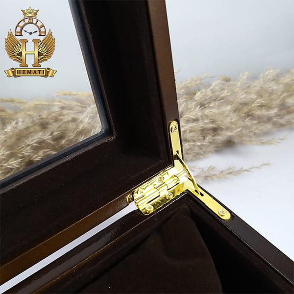 خرید ارزان جعبه ساعت کلکسیونی چوبی 12تایی رنگ قهوه ای box12112 درب شیشه ای با بالشت سنتی