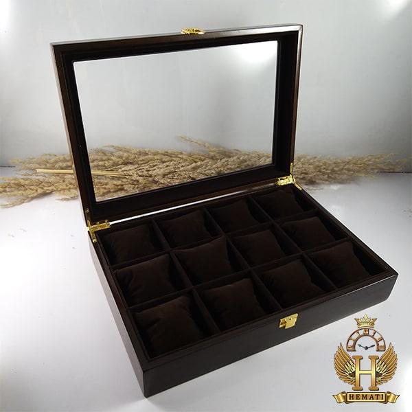 خرید اینترنتی جعبه ساعت کلکسیونی چوبی 12تایی رنگ قهوه ای box12112 درب شیشه ای با بالشت سنتی