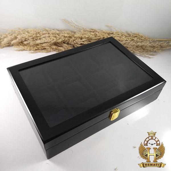 خرید آنلاین جعبه ساعت کلکسیونی چوبی 12تایی رنگ مشکی box12113 درب شیشه ای با بالشت سنتی
