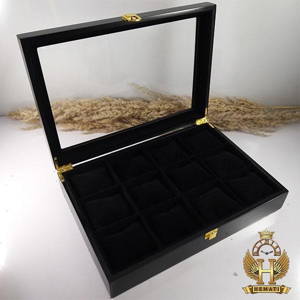 خرید ارزان جعبه ساعت کلکسیونی چوبی 12تایی رنگ مشکی box12113 درب شیشه ای با بالشت سنتی