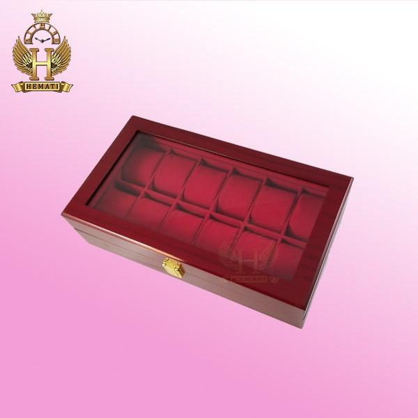 خرید ارزان جعبه ساعت و دستیند لوکس کلکسیونی چوبی 12تایی رنگ قرمز box12101 درب شیشه ای