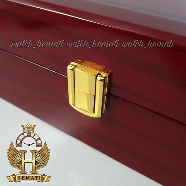 جعبه ساعت لوکس کلکسیونی چوبی 12تایی رنگ قرمز box12101 درب شیشه ای