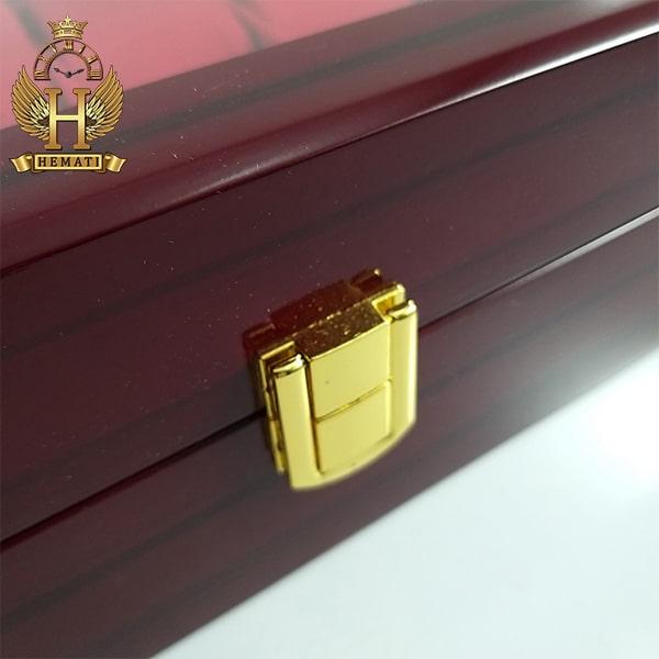 خرید اینترنتی جعبه ساعت لوکس کلکسیونی چوبی 12تایی رنگ قرمز box12101 درب شیشه ای
