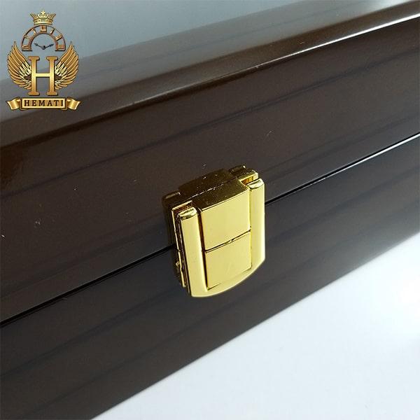 خرید جعبه ساعت و دستیند لوکس کلکسیونی چوبی 12تایی رنگ قهوه ای box12102 درب شیشه ای