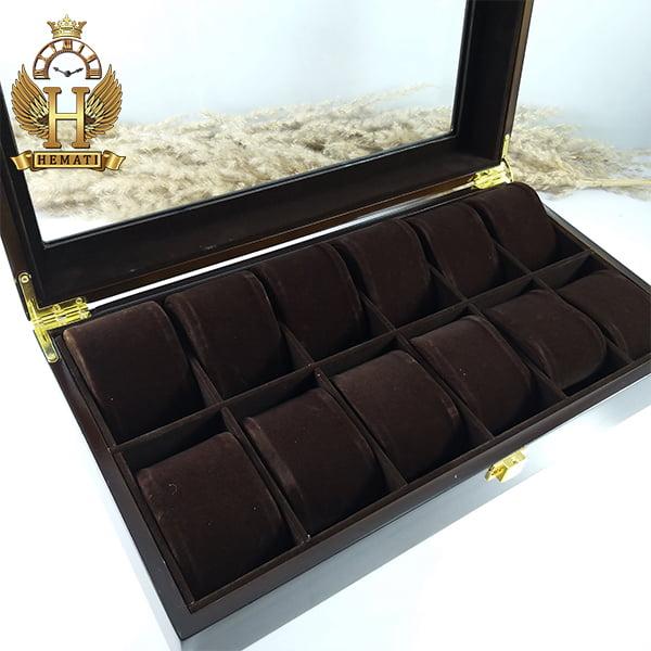 جعبه ساعت لوکس کلکسیونی چوبی 12تایی رنگ قهوه ای box12102 درب شیشه ای