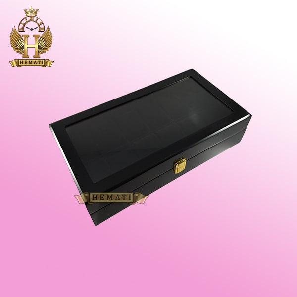 جعبه ساعت لوکس کلکسیونی چوبی 12تایی رنگ مشکی box12103 درب شیشه ای