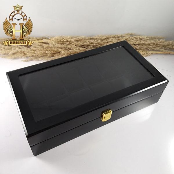خرید اینترنتی جعبه ساعت لوکس کلکسیونی چوبی 12تایی رنگ مشکی box12103 درب شیشه ای