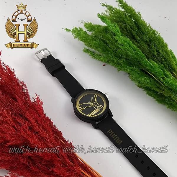 خرید اینترنتی ساعت اسپرت پوما PUMA PM203 قاب و بند مشکی با صفحه مشکی طلایی