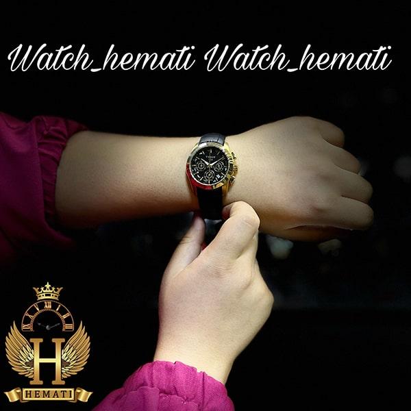 مشخصات ساعت مچی زنانه تیسوت سه موتوره بند چرم مشکی مدل ST034L قاب طلایی و صفحه مشکی