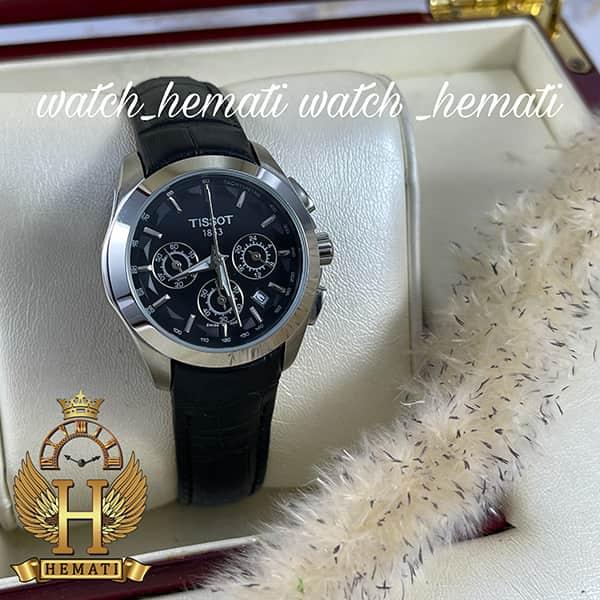 خرید انلاین ساعت زنانه تیسوت سه موتوره بند چرم مشکی مدل ST034L قاب نقره ای و صفحه مشکی