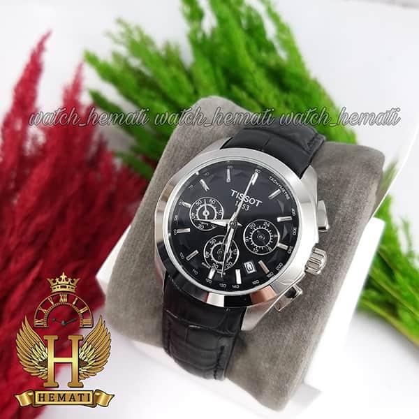 خرید ، قیمت ، مشخصات ساعت زنانه تیسوت سه موتوره بند چرم مشکی مدل ST034L قاب نقره ای و صفحه مشکی