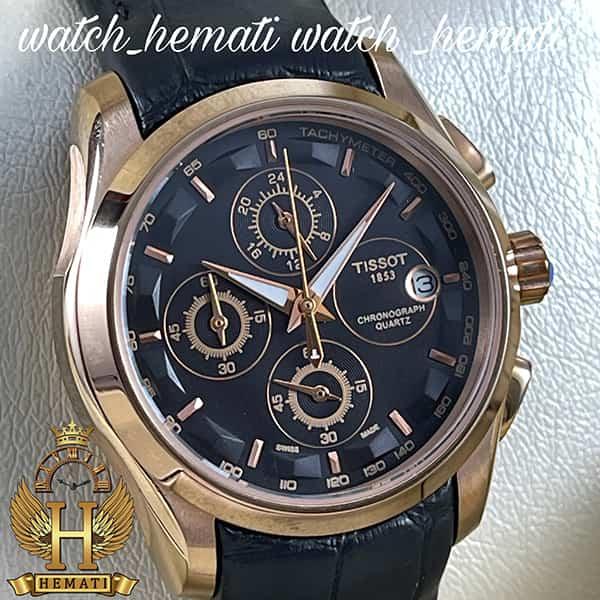 خرید ، قیمت ، مشخصات ساعت زنانه تیسوت سه موتوره بند چرم مشکی مدل ST035L قاب رزگلد و صفحه مشکی