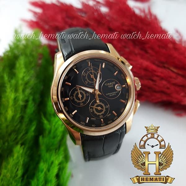 خرید انلاین ساعت زنانه تیسوت سه موتوره بند چرم مشکی مدل ST035L قاب رزگلد و صفحه مشکی