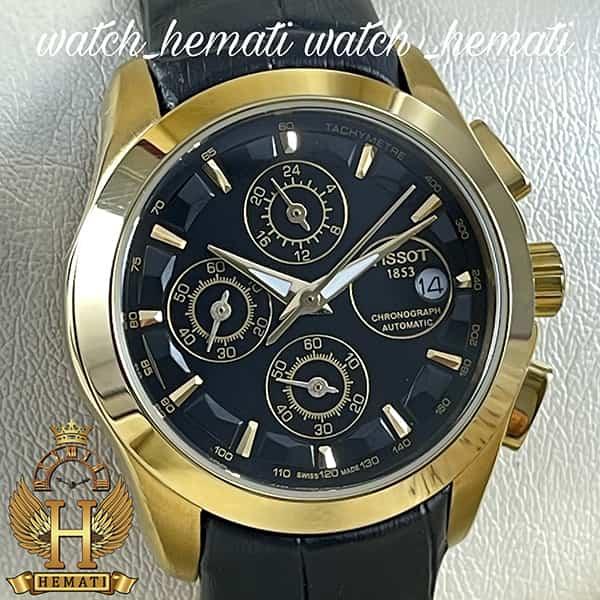 خرید ، قیمت ، مشخصات ساعت زنانه تیسوت سه موتوره بند چرم مشکی مدل ST035L قاب طلایی و صفحه مشکی