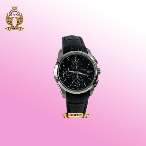 خرید ، قیمت ، مشخصات ساعت زنانه تیسوت سه موتوره بند چرم مشکی مدل ST035L قاب نقره ای و صفحه مشکی