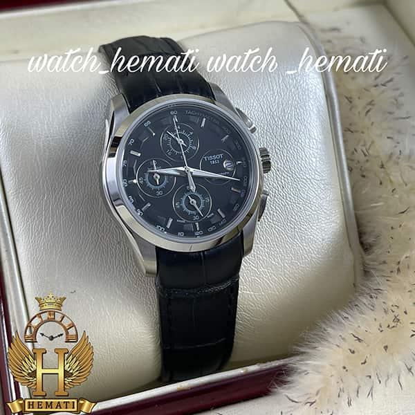 خرید اینترنتی ساعت زنانه تیسوت سه موتوره بند چرم مشکی مدل ST035L قاب نقره ای و صفحه مشکی