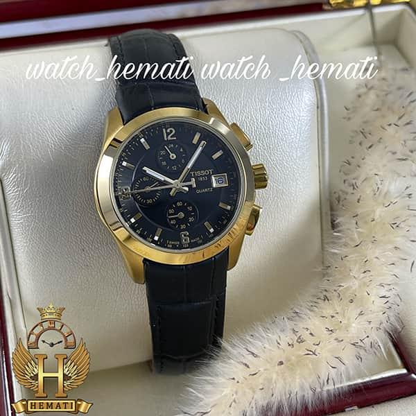 خرید ، قیمت ، مشخصات ساعت زنانه تیسوت سه موتوره بند چرم مشکی مدل ST036L قاب طلایی و صفحه مشکی