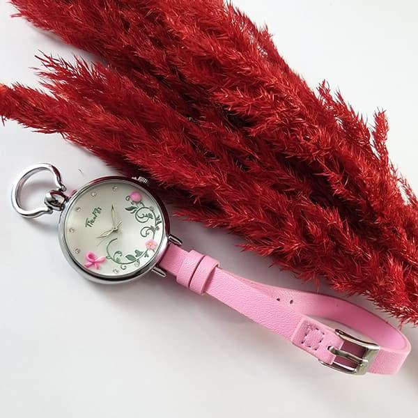 خرید ساعت مچی فانتزی دخترانه بند چرم WA100 قاب نقره ای با بند صورتی