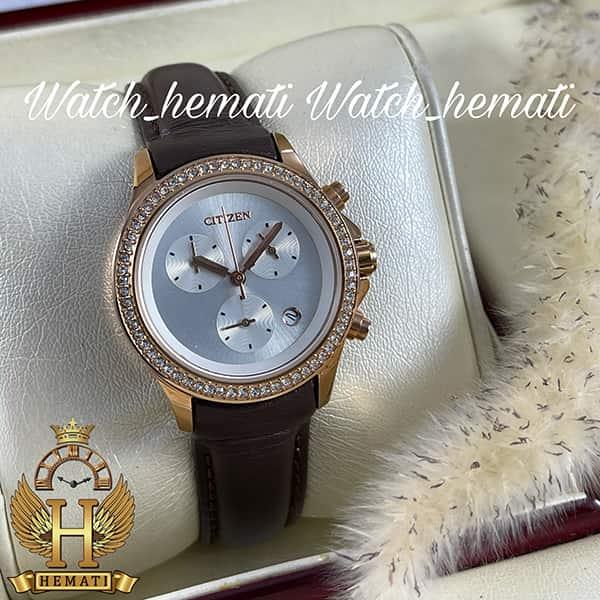 خرید ساعت زنانه سیتیزن سه موتوره بند چرم قهوه ای مدل N-17139L CTL111 قاب رزگلد با بند ساده چرم