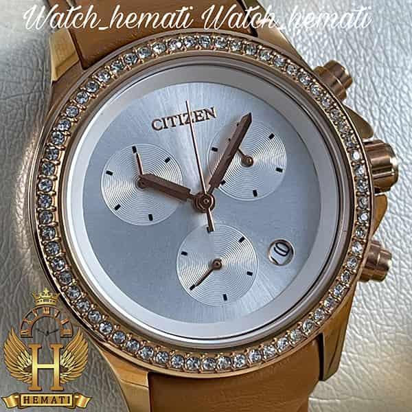 خرید ساعت زنانه سیتیزن سه موتوره بند چرم عسلی مدل N-17139L CTL112 قاب رزگلد بند چرم عسلی ساده