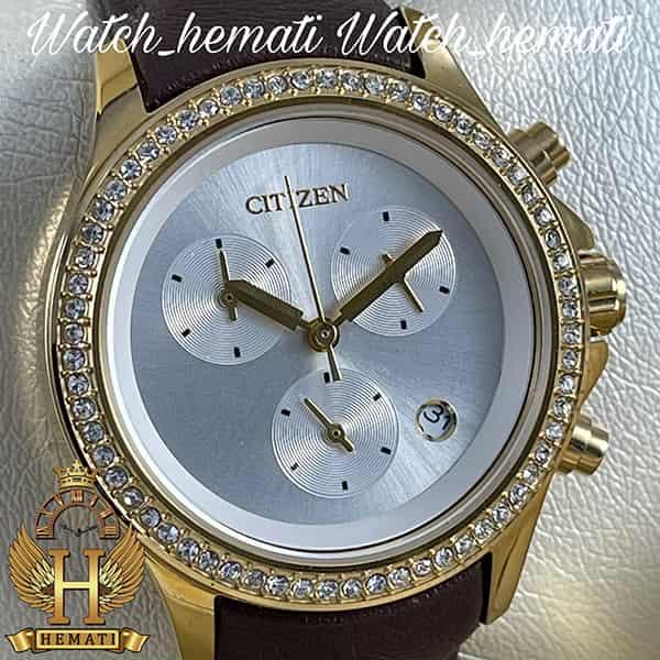 خرید اینترنتی ساعت زنانه سیتیزن سه موتوره بند چرم مدل N-17139L CTL110 قاب طلایی با بند چرم ساده قهوه ای