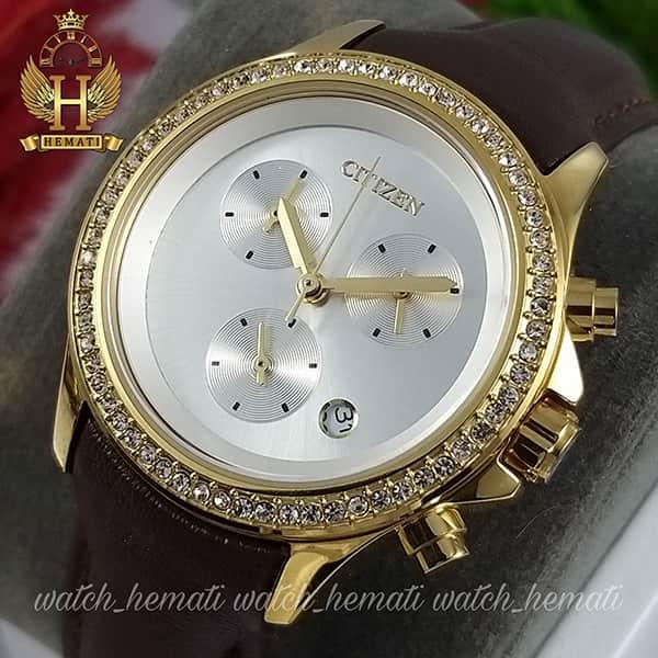 مشخصات ساعت زنانه سیتیزن سه موتوره بند چرم مدل N-17139L CTL110 قاب طلایی با بند چرم ساده قهوه ای