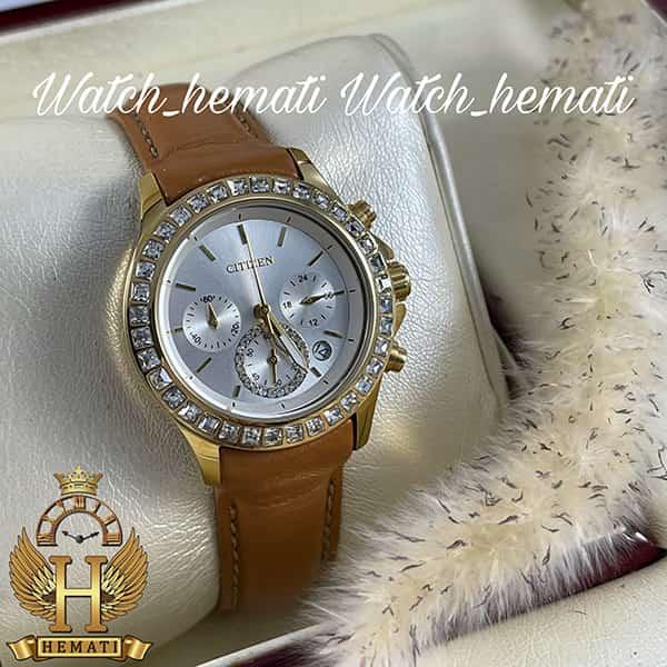 خرید ساعت زنانه سیتیزن سه موتوره بند چرم مدل N-17138L CTL101 قاب طلایی با بند چرم عسلی