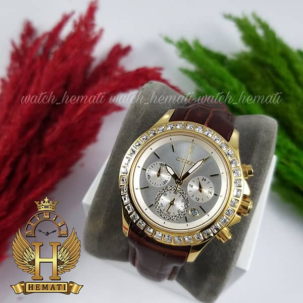خرید انلاین ساعت زنانه سیتیزن سه موتوره بند چرم مدل N-17138L CTL103 قاب و قفل طلایی با صفحه نقره ای و بند چرم قهوه ای طرح دار