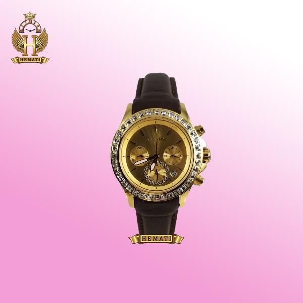 ساعت زنانه سیتیزن سه موتوره بند چرم مدل N-17138L CTL102 قاب و صفحه و قفل طلایی با بند چرم ساده قهوه ای