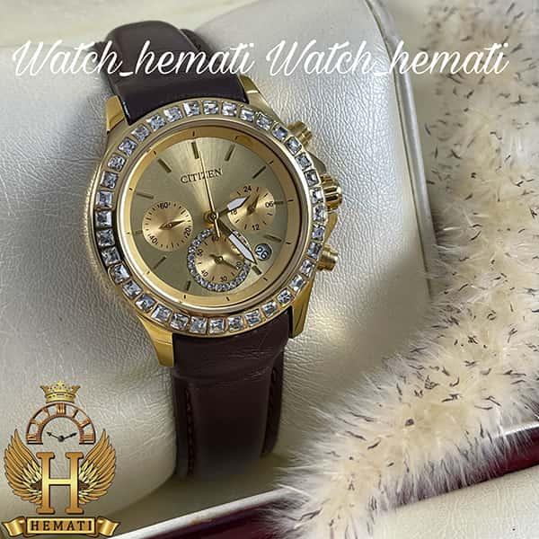 خرید اینترنتی ساعت زنانه سیتیزن سه موتوره بند چرم مدل N-17138L CTL102 قاب و صفحه و قفل طلایی با بند چرم ساده قهوه ای
