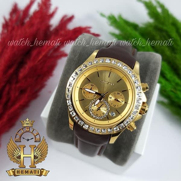 مشخصات ساعت زنانه سیتیزن سه موتوره بند چرم مدل N-17138L CTL102 قاب و صفحه و قفل طلایی با بند چرم ساده قهوه ای
