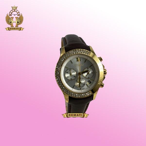 ساعت زنانه سیتیزن سه موتوره بند چرم مدل N-17137L CTL109 قاب و قفل طلایی با صفحه نقره ای و بند چرم قهوه ای ساده