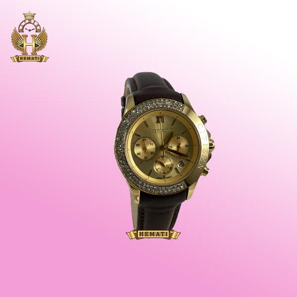 ساعت زنانه سیتیزن سه موتوره بند چرم مدل N-17137L CTL108 قاب و صفحه و قفل طلایی با بند چرم ساده