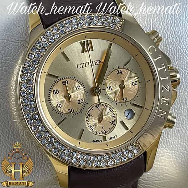 خرید اینترنتی ساعت زنانه سیتیزن سه موتوره بند چرم مدل N-17137L CTL108 قاب و صفحه و قفل طلایی با بند چرم ساده