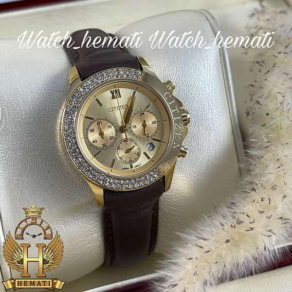 خرید ساعت زنانه سیتیزن سه موتوره بند چرم مدل N-17137L CTL108 قاب و صفحه و قفل طلایی با بند چرم ساده