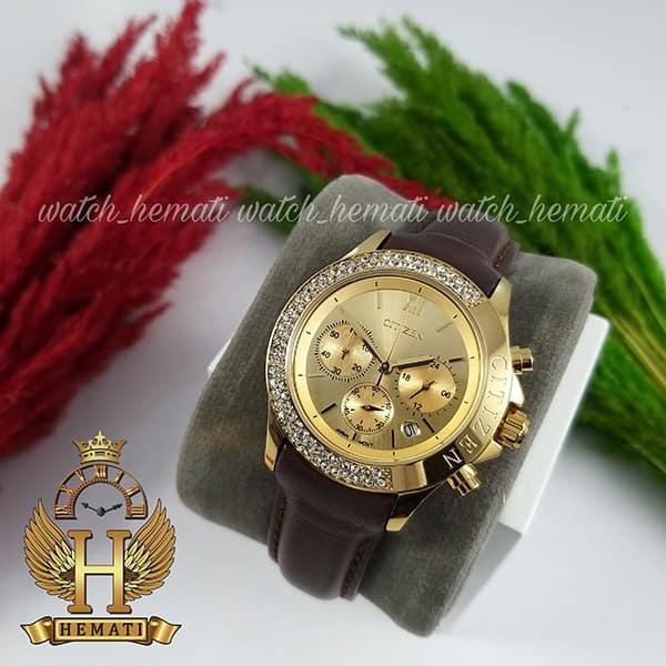 مشخصات ساعت زنانه سیتیزن سه موتوره بند چرم مدل N-17137L CTL108 قاب و صفحه و قفل طلایی با بند چرم ساده