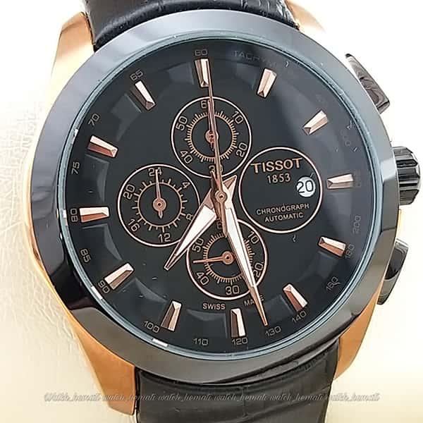 خرید ، قیمت ، مشخصات ساعت تیسوت ست مردانه و زنانه بند چرم مشکی 035 قاب مشکی_رزگلد