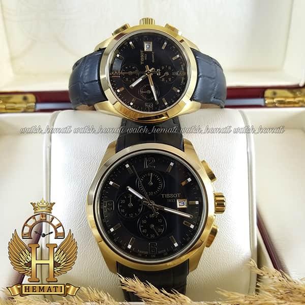 خرید ، قیمت ، مشخصات ساعت تیسوت ست مردانه و زنانه بند چرم مشکی 036 قاب طلایی