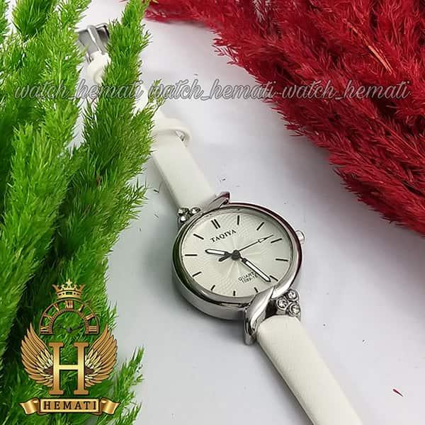 خرید ، قیمت ، مشخصات ساعت فانتزی دخترانه تاکیا بند چرم TAQIA TAQ103 قاب نقره ای با بند سفید چرم