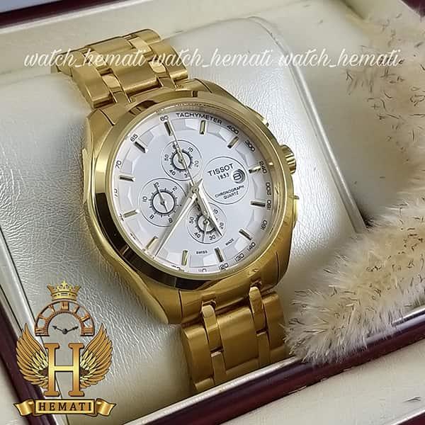 خرید ، قیمت ، مشخصات ساعت مردانه تیسوت بند فلزی مدل 035G قاب و بند طلایی با صفحه سفیدطلایی