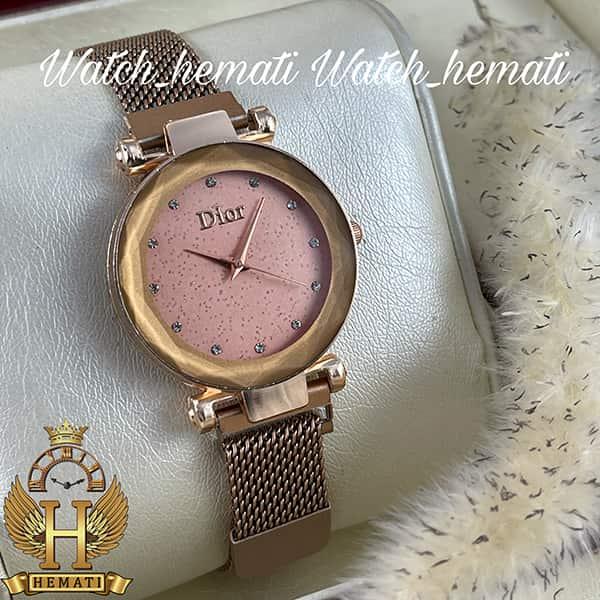 خرید ، قیمت ، مشخصات ساعت دخترانه دیور بند حصیری قفل مگنتی DIOR100 و رنگ رزگلد