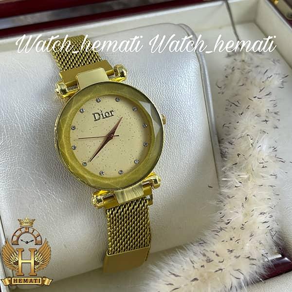 خرید اینترنتی ساعت دخترانه دیور بند حصیری قفل مگنتی DIOR101 طلایی