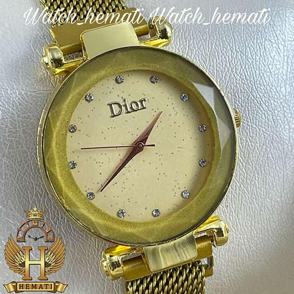 عکس ساعت دخترانه دیور بند حصیری قفل مگنتی DIOR101 طلایی