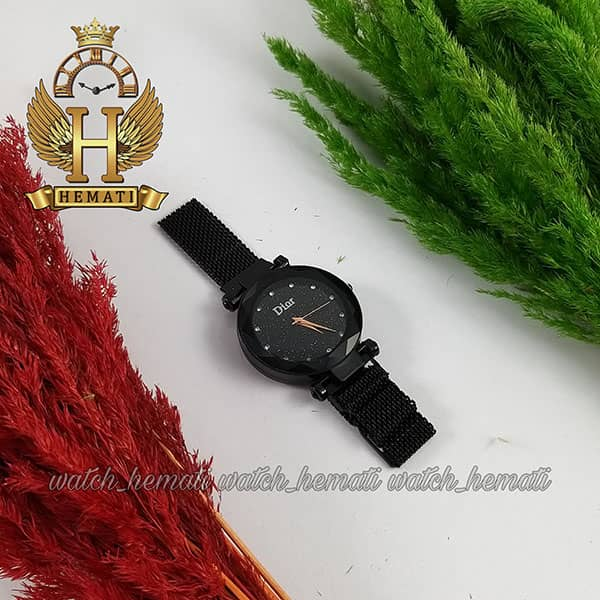 خرید ، قیمت ، مشخصات ساعت دخترانه دیور بند حصیری قفل مگنتی DIOR102 مشکی