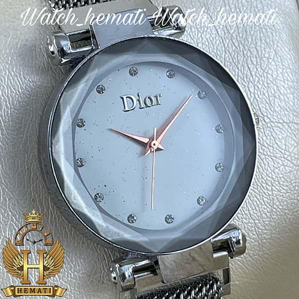 خرید ، قیمت ، مشخصات ساعت دخترانه دیور بند حصیری قفل مگنتی DIOR103 نقره ای