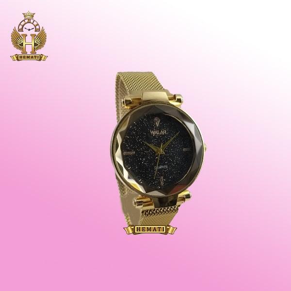 ساعت دخترانه والار بند حصیری قفل مگنتی WAL102 قاب و بند طلایی و صفحه مشکی