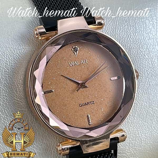 خرید ، قیمت ، مشخصات ساعت دخترانه والار بند حصیری قفل مگنتی WAL104 قاب رزگلد با بند مشکی