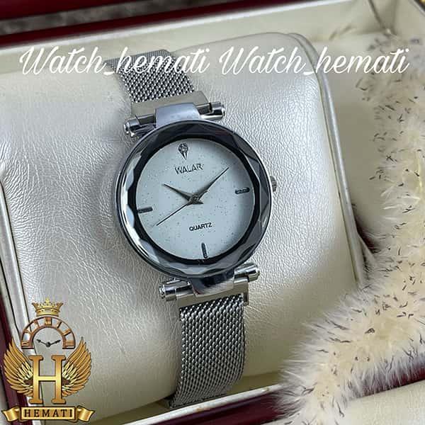 عکس ساعت دخترانه والار بند حصیری قفل مگنتی WAL105 قاب و بند نقره ای با صفحه سفید