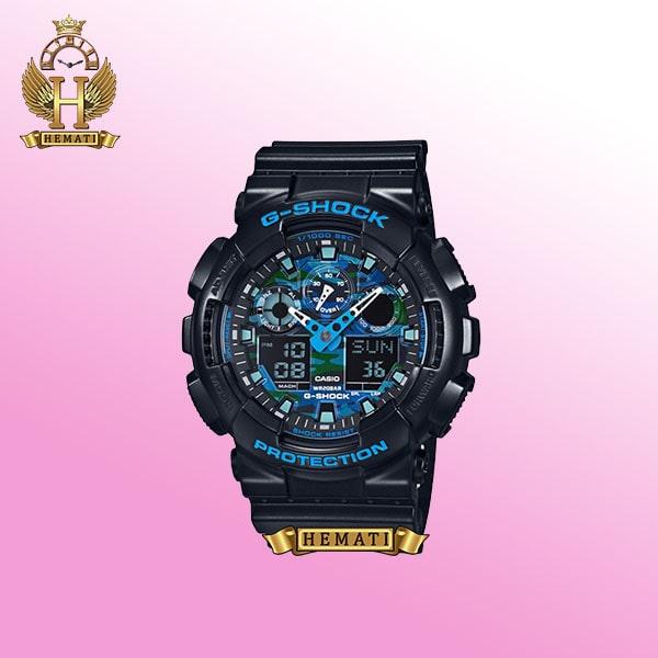 ساعت مردانه کاسیو جی شاک Casio G-Shock GA-100CM R قاب وبند مشکی با صفحه آبی